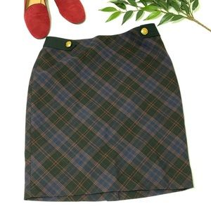 The Limited Tartan Navy and Red Pencil Skirt